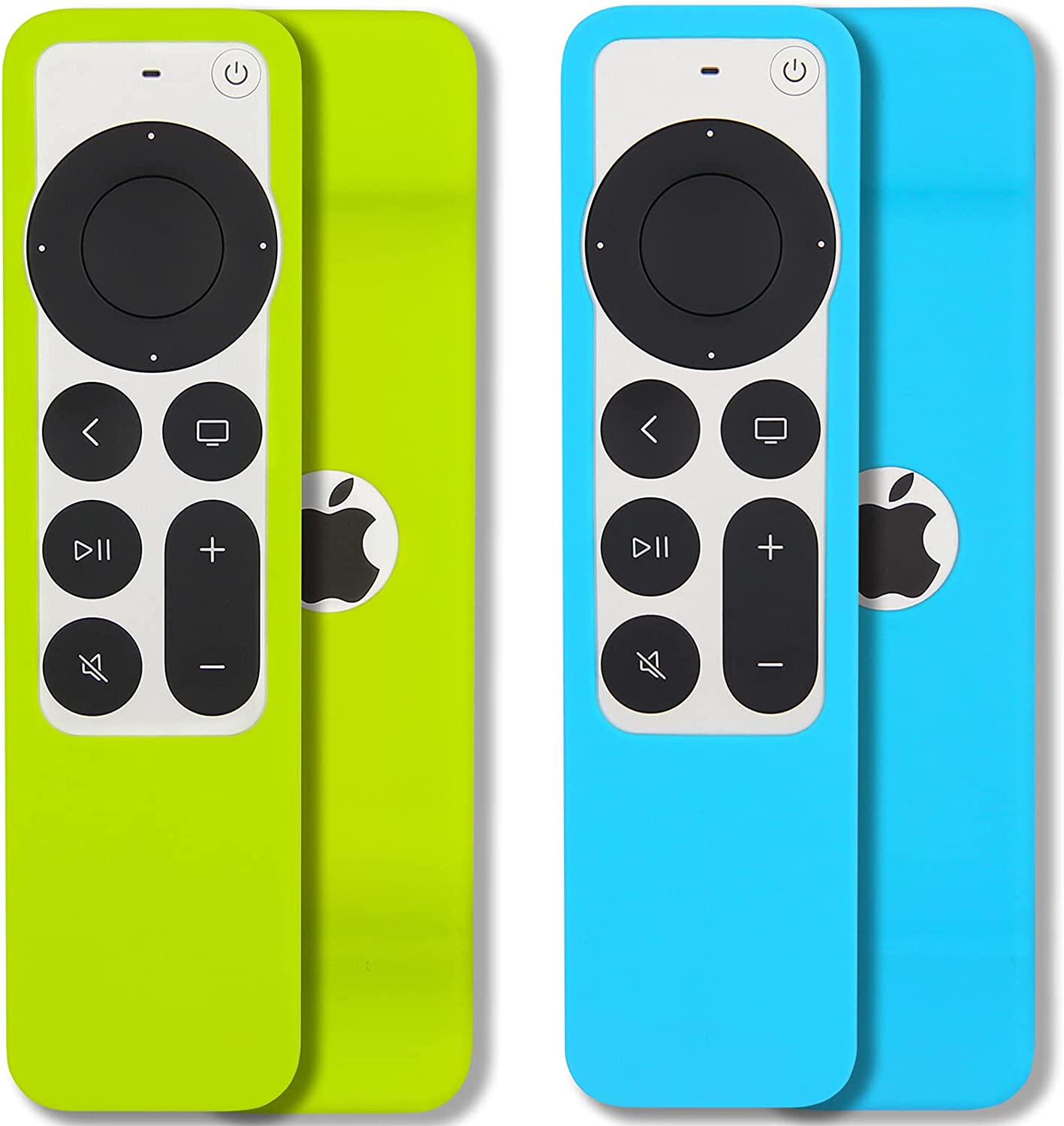 [2 Pack] Pinowu Remote Case Compatible with 2021 Apple TV Siri Remote (2nd Generation) - Lanyard Included, Anti-Slip, Heavy Shock Absorption, Drop Protection (Turquoise and Green)