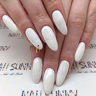 Edary False Nails Full Cover Glossy Fake Nails Shape White Nails Sharp Art 24Pcs Stiletto Nail for Women