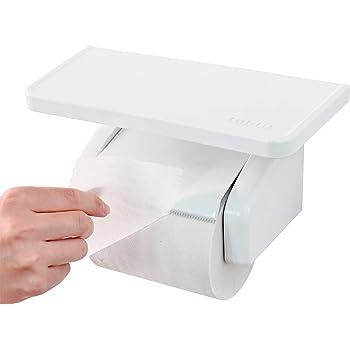オカ(OKA) fill+fit(フィルフィット) ワンタッチ トイレットペーパーホルダー棚付き ホワイト(我が家べんり化計画 紙巻き器)