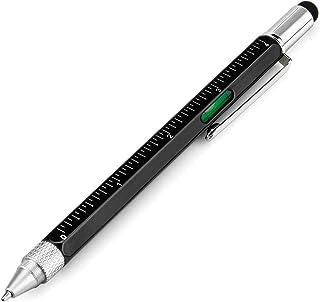 قلم هدیه برای مردان 6 در 1 قلم پیچ گوشتی ابزار ابزار چند تکنیکی با خط کش ، Levelgauge ، قلم و قلم پر کننده ، هدایای منحصر به فرد برای مردان ، 1 بسته (مشکی)