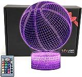 Baloncesto forma 3D LED ilusión lámpara noche luz óptica noche noche noche luces iluminando lámpara niños 16 color cambiante botón táctil USB cable decoración lámparas escritorio