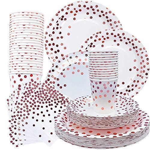 SIMUER 80PCS Set Rosa Gold Papier Geschirr Set, Papierservietten, 7In Dessertteller, 9In Pappteller Rose Gold Tupfen Papier Einwegbecher & Geschirr Papierschalen für Picknicks Kindergeburtstag Partys