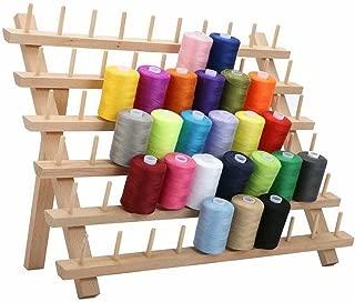 60 bobinas de madera plegada de hilo estante de almacenamiento, organizador de hilo de bobina, soporte de costura, soporte de bordado, herramientas de costura – 40 x 18,5 x 27,5 cm
