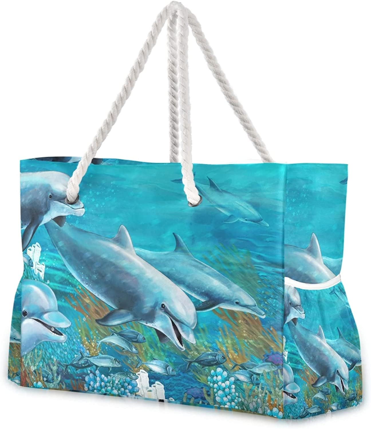 OTVEE Dolphins shop 2021 And Coral Reef Beach Large Tote Zi Bag Travel