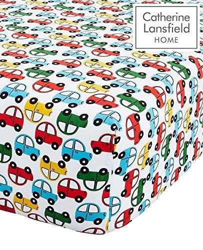 Catherine Lansfield Spannbettlaken mit Auto-Motiv für Einzelbett, pflegeleicht, hell