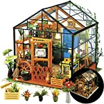 """Rolife DIY Dollhouse Miniatures Craft Kits for Adults (Kathy's Green House) 7 7.7"""" X 6.9"""" X 6.9"""" assembled, recommended age is 14 years or older. TOP GIFT for ADULTS AND KIDS.Ideal Christmas, birthday, or holiday gift for a gardener, hobbyist, or craftsperson. Great for a STEAM related gift too! Create an intricately detailed wooden flower house to capture and preserve the beauty of nature. The time spent building this miniature DIY greenhouse is as enjoyable as it is visually stunning."""