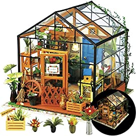 "Rolife DIY Dollhouse Miniatures Craft Kits for Adults (Kathy's Green House) 10 7.7"" X 6.9"" X 6.9"" assembled, recommended age is 14 years or older. TOP GIFT for ADULTS AND KIDS.Ideal Christmas, birthday, or holiday gift for a gardener, hobbyist, or craftsperson. Great for a STEAM related gift too! Create an intricately detailed wooden flower house to capture and preserve the beauty of nature. The time spent building this miniature DIY greenhouse is as enjoyable as it is visually stunning."