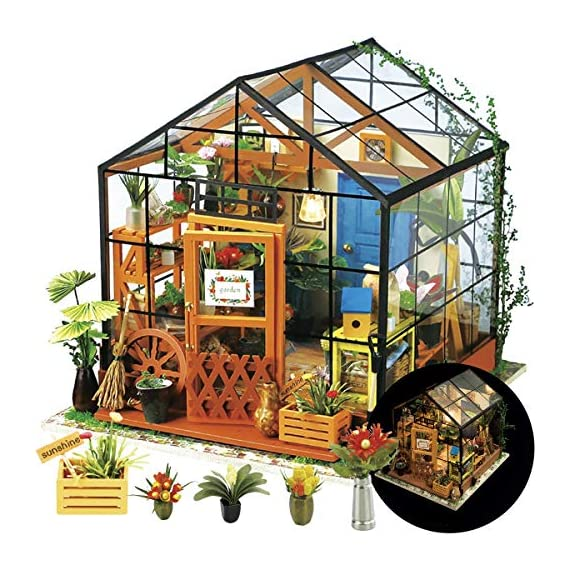 """Rolife DIY Dollhouse Miniatures Craft Kits for Adults (Kathy's Green House) 1 7.7"""" X 6.9"""" X 6.9"""" assembled, recommended age is 14 years or older. TOP GIFT for ADULTS AND KIDS.Ideal Christmas, birthday, or holiday gift for a gardener, hobbyist, or craftsperson. Great for a STEAM related gift too! Create an intricately detailed wooden flower house to capture and preserve the beauty of nature. The time spent building this miniature DIY greenhouse is as enjoyable as it is visually stunning."""