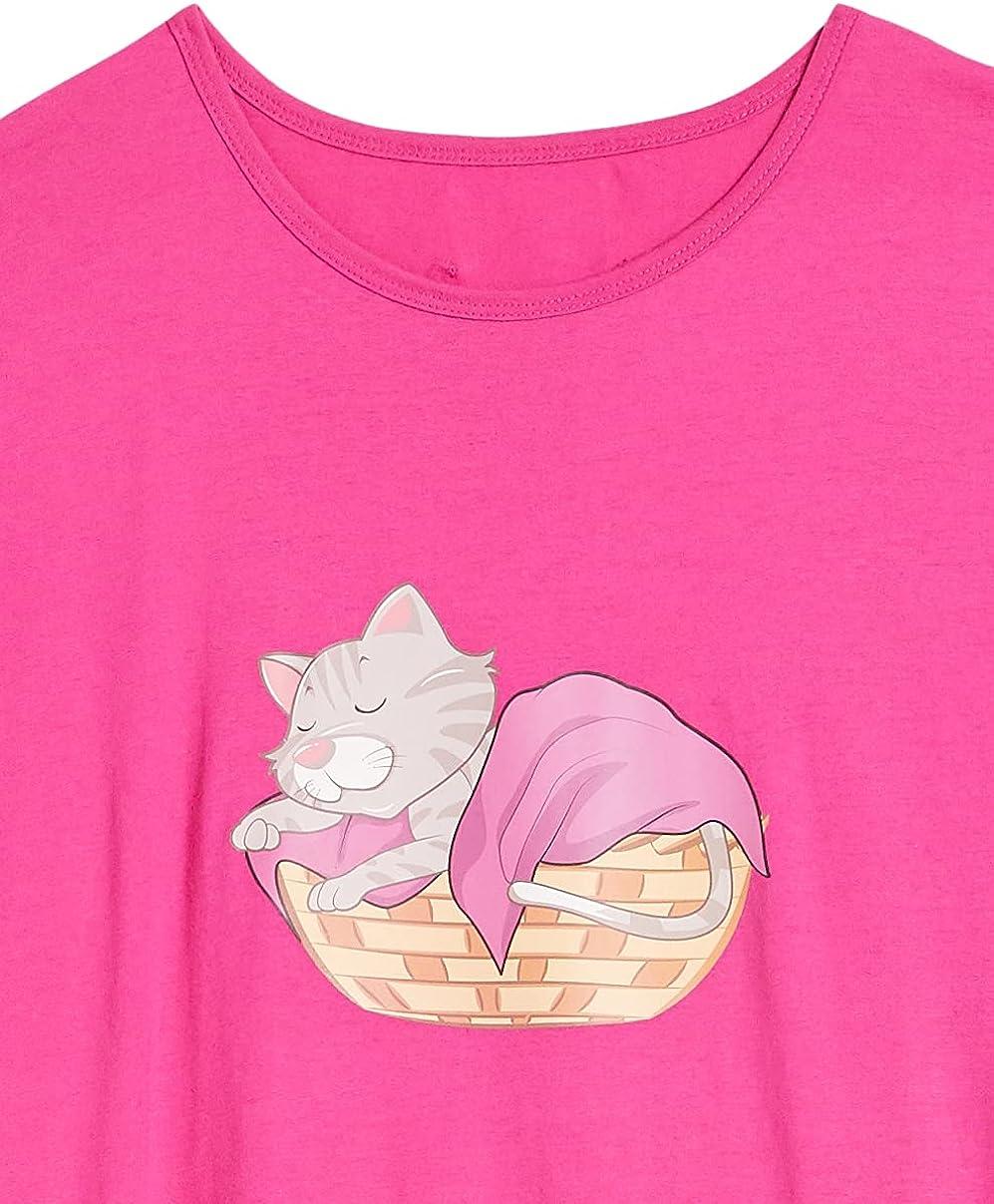 AmeriMark Women's T-Shirt Nightgowns Set – Cotton-Rich Soft Jersey Sleep Shirts