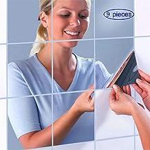 MUCHEN-SHOP Zelfklevende spiegeltegels, set van 9 stuks, acryl, voor woonkamer, slaapkamer, bank, tv, keuken, badkamer, 15...