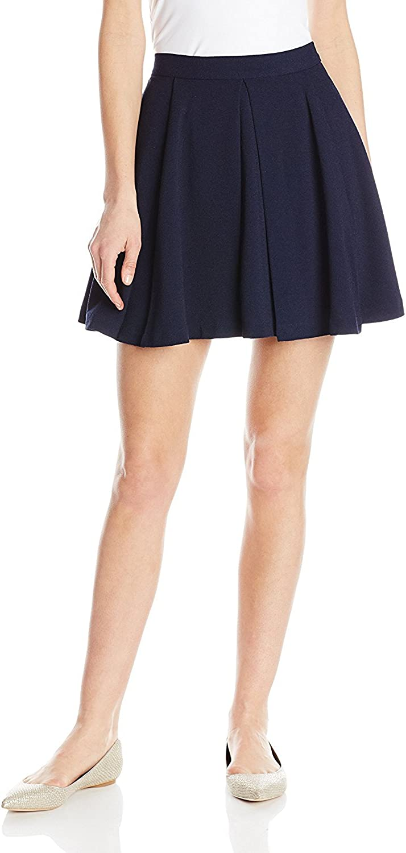 Sam Edelman Women's Solid Box Pleat Front Skirt, Midnight, Medium