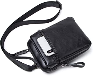 Contacts Genuine Leather Man Small Messenger Belt Waist Bag Purse Pouch Phone Wallet (Black)