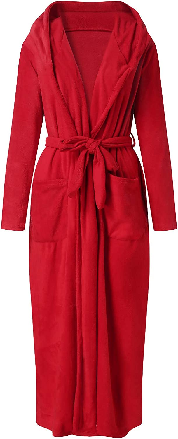 FUNEY Lapel Thicken Warm Pocket Belt Cotton Long Robe Bathrobe Soft Sleepwear V-Neck Pajamas Loungewear for Women