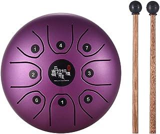Muslady - Tambor de acero para lengua, 5,5 pulgadas, mini 8 tonos C, instrumento de percusión, tambor de mano con maletas de tambor y bolsa de transporte, morado