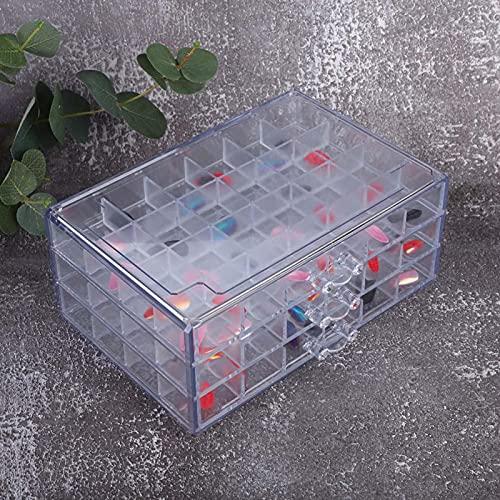 Dreilagige Nagelkunst-Aufbewahrungsbox Praktischer Nagelkunst-Werkzeugkoffer für Nagelstudio für den täglichen Gebrauch für den professionellen Gebrauch für den Haushalt(Transparent)