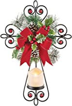 Collections Etc Beautiful Lighted Christmas Wall Cross with LED Candle, Remote, Wreath and Bow Accents