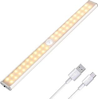 Luz Armario 40 LED, USB Recargable Luces LED Armario con Sensor Movimiento, 3 Modos Lámpara LED de Armario con Tira Magnética, para Armario, Cocina, Escalera, Pasillo y Emergencias(Luz blanca cálida)
