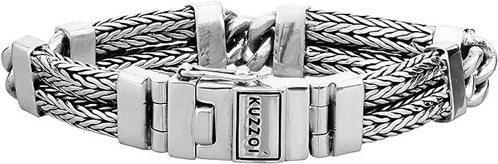Bracciale da uomo in argento sterling massiccio 925, larghezza 14 mm, 335109 kuzzoi 335109-021
