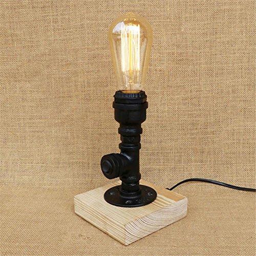 Lampe de Table Industrial Retro Art en bois Tubes d'eau Lampe de table Creative Vintage Desk Light pour salon Chambre Bar Hall Pub Bureaux Café Décoration Lampadaire de toilette, D