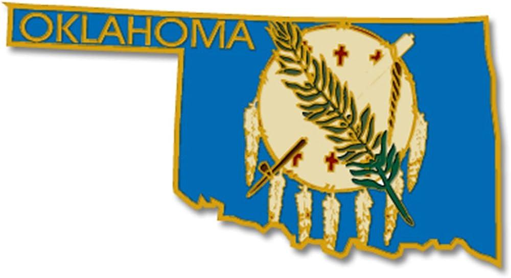 PinMart State Shape of Oklahoma and Oklahoma Flag Lapel PinPin