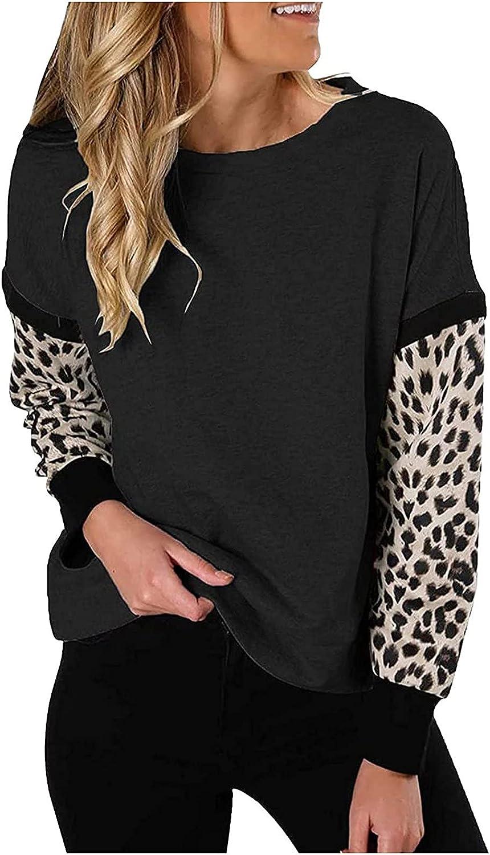 INESVER Womens Stitching Long Sleeve Sweatshirt Leopard Printed Sweatshirt Casual Loose Tunic Blouse Shirt