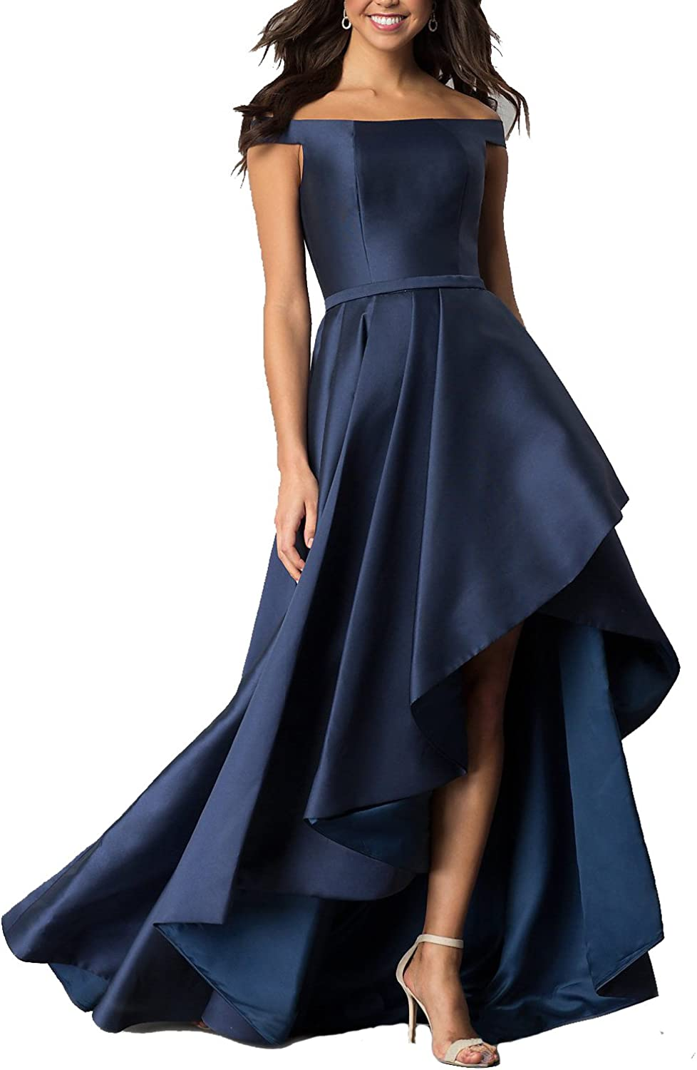 Sulidi Women's Off Shoulder HiLo Prom Homecoming Dresses Long Satin Evening Party Gown C044