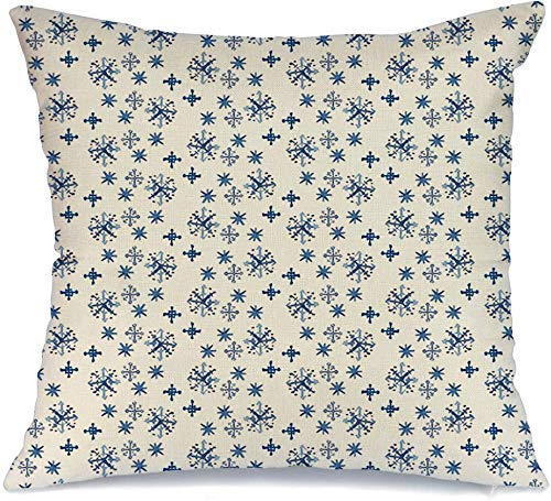 Decoración Throw Pillow Cover Funda de cojín Celebración azul Acuarela Navidad Copos de nieve en vacaciones abstractas Color frío Cristal Diciembre Funda de Cojine 45 X 45CM