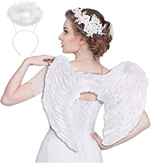 Angel Wings for Kids Adult Halo Headband White Feather Fairy Angel Costumes Party Cosplay