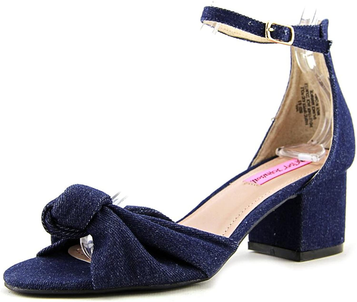 Betsey Johnson Ivee Ankle Strap Sandals, bluee Gingham