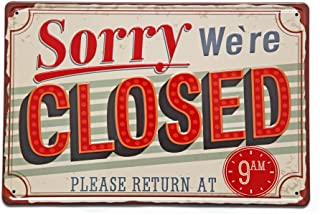 NEW DECO Sorry We are Closed Metal Tin Sign Vintage Retro Wall Decor Art 8x12 Inches(20x30cm)