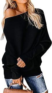 Minetom Mujer Moda Suéter Casual Jersey de Punto de Cuello Barco Batwing Mangas Largas Camiseta Blusa Tops Suelto Túnica