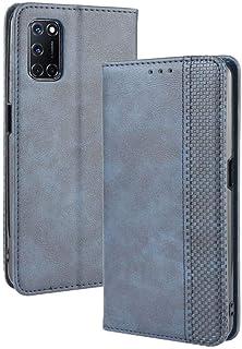 جراب لهاتف OPPO A92، جراب جلدي قلاب بمحفظة ومسند لهاتف OPPO A92، جراب هاتف مغناطيسي قديم، جراب هاتف بمحفظة مع فتحات للبطاقات