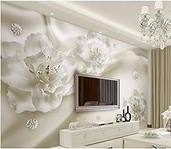 Rureng Papel Pintado De Lujo Europeo Para Las Paredes Foto Estereoscópica De La Flor Murales De Pared 3D Vinilo De Papel T...
