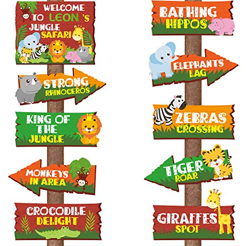 20 Pieces Safari Jungle Animal Signs Party Signs Wild Animal Directional Signs for Kids Welcome Signage Zoo Animals Yard Decorations Baby Shower Birthday Party Supplies
