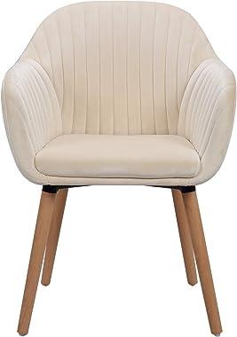 WOLTU Lot de 4 Chaises de Salle à Manger Chaise de Loisirs en Velours et Bois Massif,Chaises de réception Crème Blanc BH95cm-