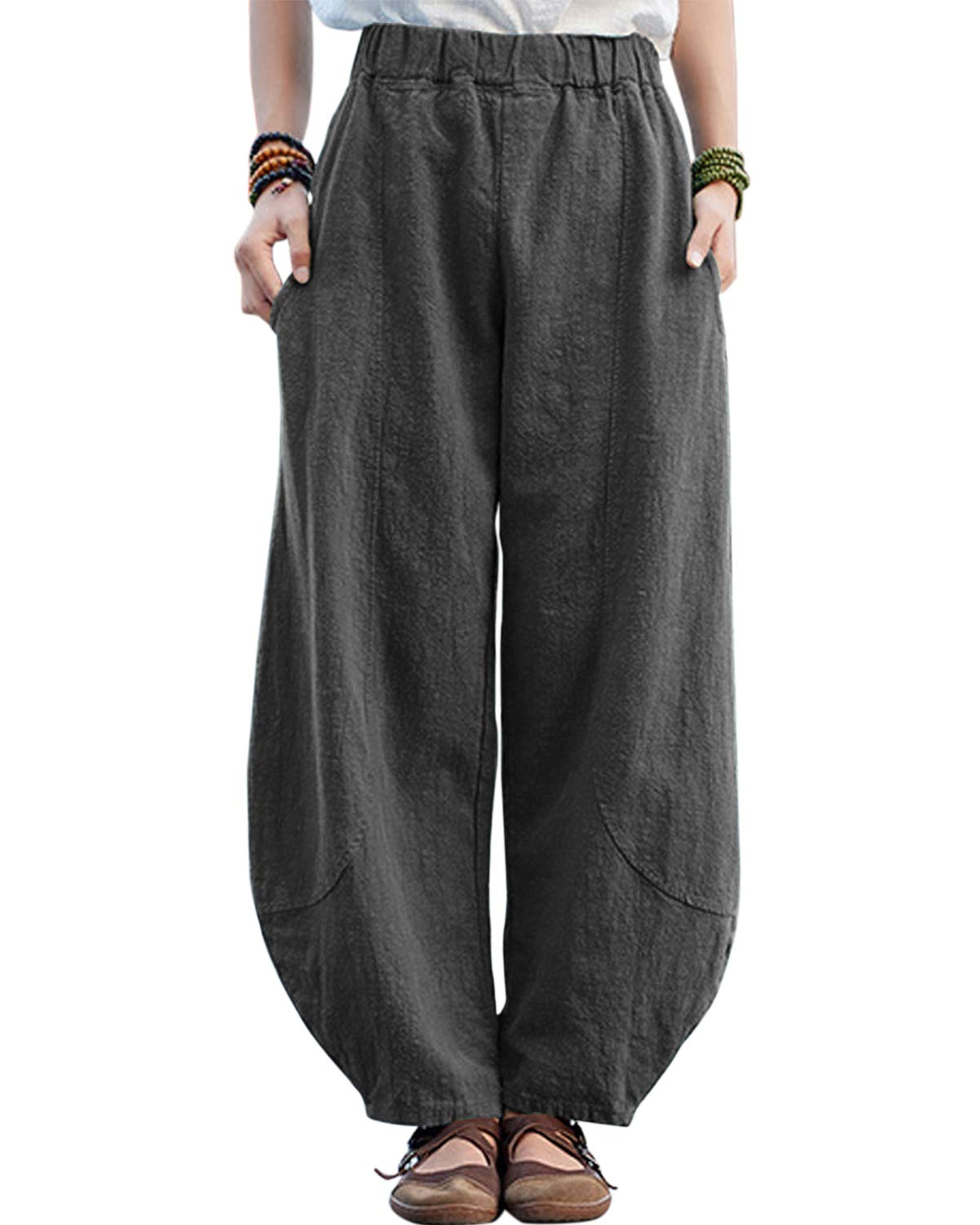 IXIMO Womens Casual Cotton Linen Baggy Pants with Elastic Waist Relax Fit Lantern Trousers