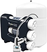 """Whirlpool WHAROS5 Reverse Osmosis (RO) Water Filtration System With Chrome Faucet   Extra Long Life   Easy To Replace UltraEase Filter Cartridges, 14"""" deep x 13"""" wide x 15 inches tall, Blue"""