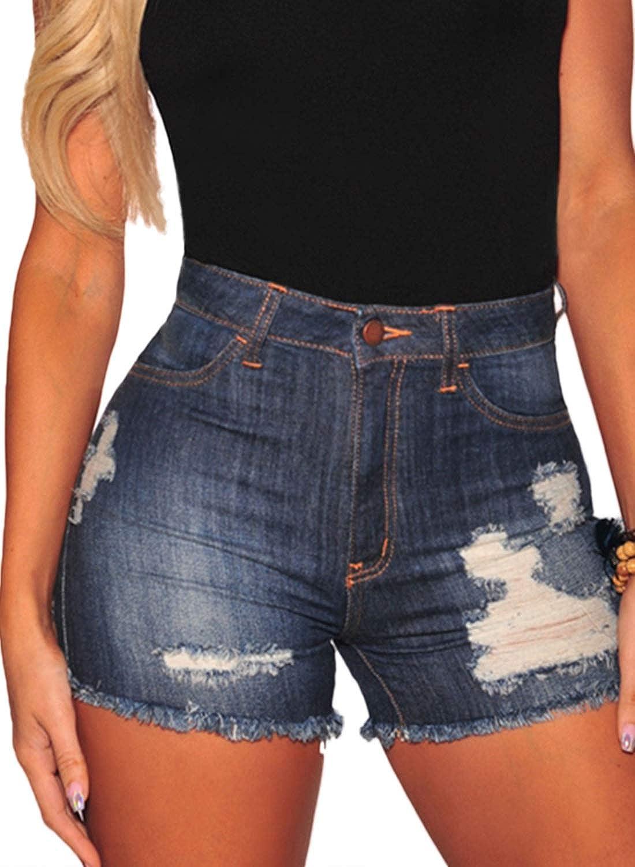 BLENCOT Women's Junior Ripped MidRise Stretchy Distressed Denim Short Jeans