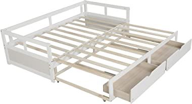 windaze Daybed with Trundle and 2 Storage Drawers Full Twin to King Size, Solid Wood Extendable Multi-Function Bed with Slats