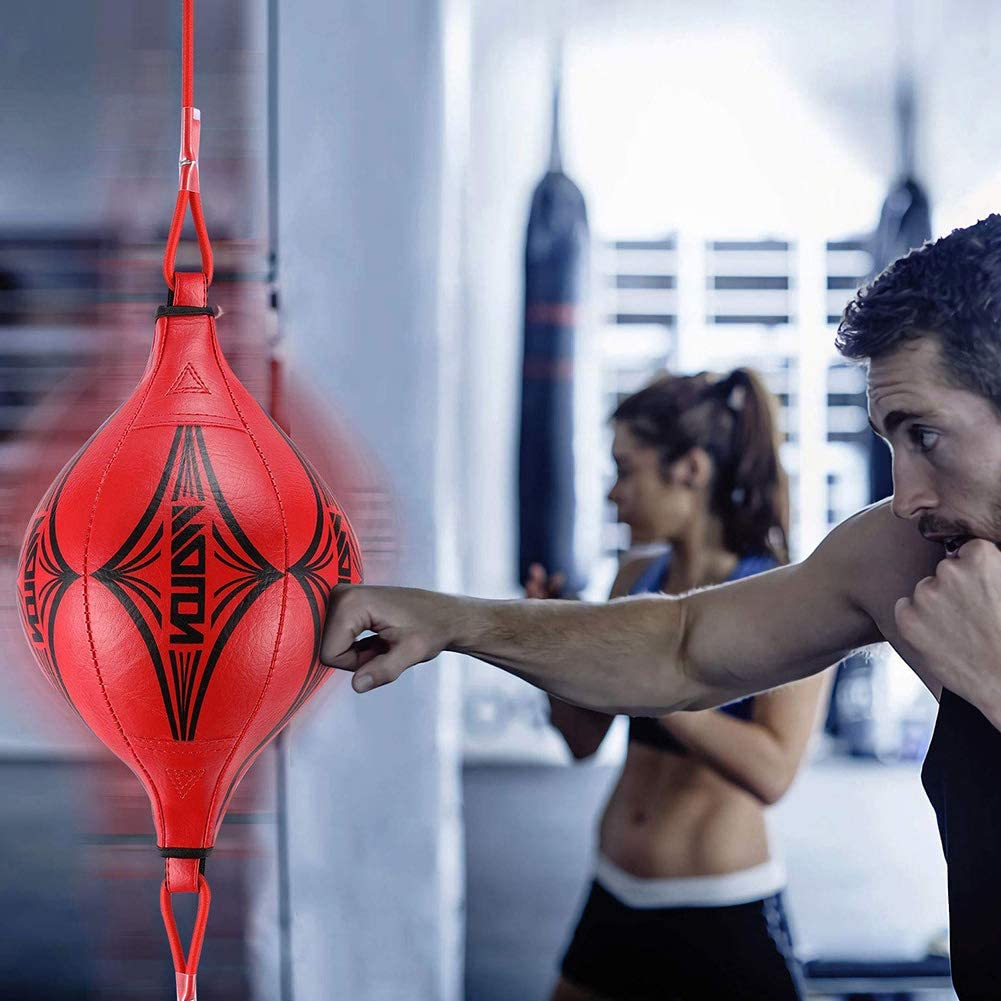 YEKKU Double End Ball Universal Suspended Speed Ball Double End Boxing Dodge Speed Ball PU Leather Inflatable Muay Thai Raining Floor with Pump and Hook for Adults Punching Ball for Daily Reaction