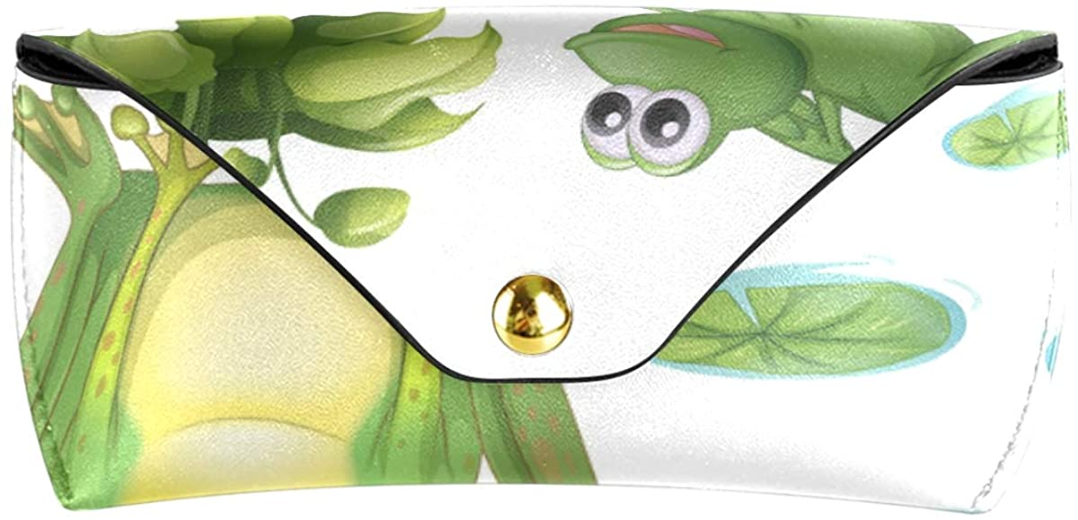 Sunglasses Case Eyeglasses Pouch Multiuse Goggles Bag present PU Leather Pond Green Frog Water Lily Flower Portable