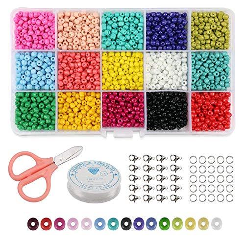 Fransande 9000 cuentas de cristal de 15 colores surtidos, para manualidades, cuentas de pastel, kit surtido con organizador para hacer joyas, abalorios y manualidades