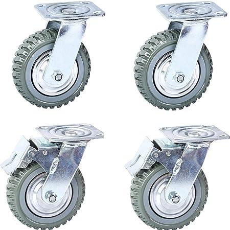 """Heavy Duty Industrial Rubber Caster Wheels 6/"""" 360° Swivel Ball bearing"""