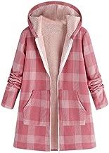 Vintage Comfy Women Winter KIKOY Warm Outwear Button Plaid Print Pocket Jackets