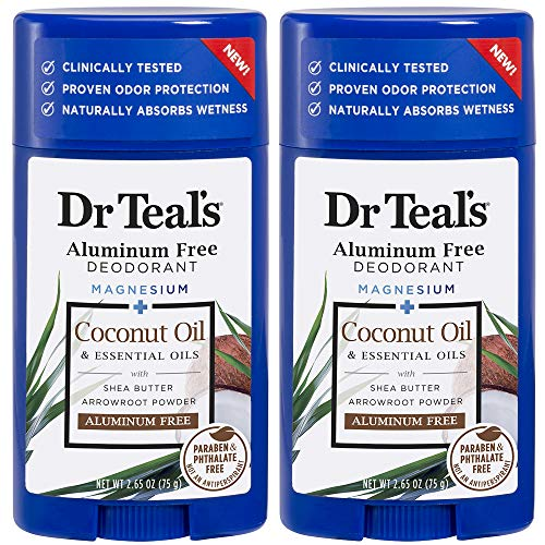 Dr Teal's Aluminum Free Deodorant - Coconut Oil - Paraben & Phthalate Free - 2.65 oz Pack of 2