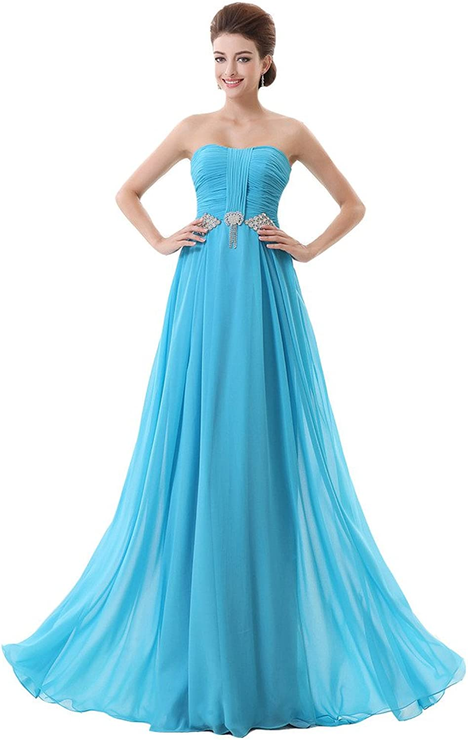 Lemai Women's bluee Sweetheart Crystals Long A Line Formal Evening Prom Dresses