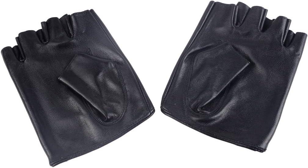 Black Genuine Sheepskin Leather Fingerless Half Finger Short Gloves for Girls Women Ladies L: for Palm Perimeter in 19-20cm