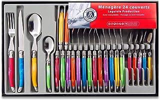 Laguiole Production - Ménagère 24 pièces multicolore - Set de couverts de table acier inox et ABS pour 6 personnes - Prése...