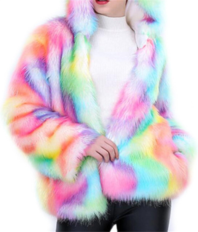 Rrive Women's Warm color Block Hooded Faux Fur Open Front Jacket Coat
