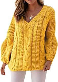 Womens Knitted Sweater V Neck Loose Long Sleeve Winter Cable Jumper Sweater